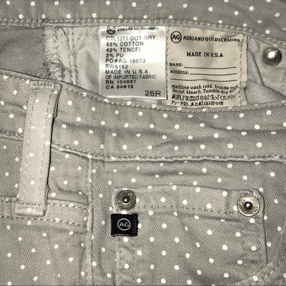Ag Adriano Goldschmied Denim - AG Adriano Goldschmeid Polka Dot grey Jeans. 26R